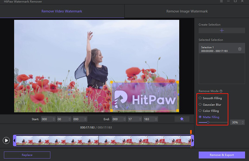 HitPaw Watermark Remover select the video watermark