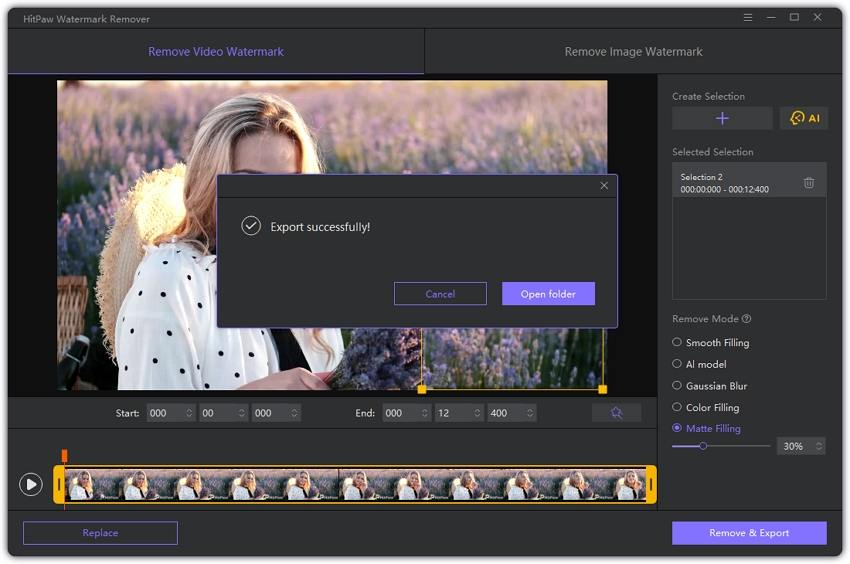HitPaw Watermark Remover remove and export the video.